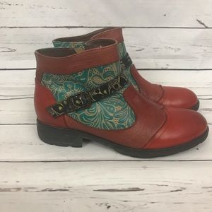 Socofy Multicolor Leather Ankle Boot Size 39